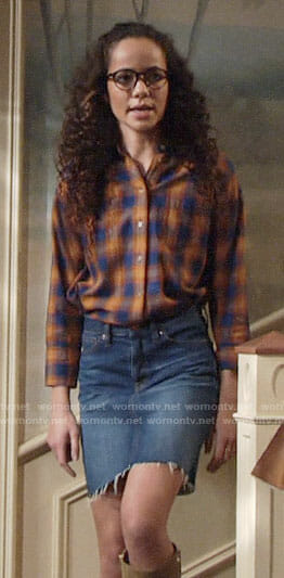 Mattie's blue and orange plaid shirt on The Young and the Restless