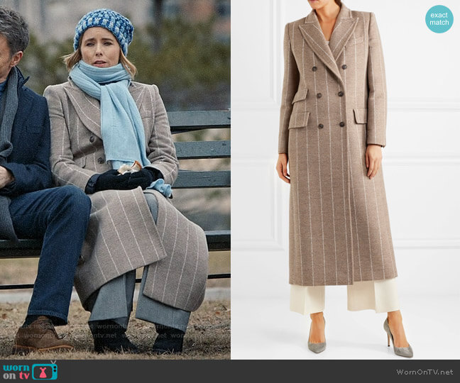 Max Mara Pinstriped Wool Coat worn by Elizabeth McCord (Téa Leoni) on Madam Secretary