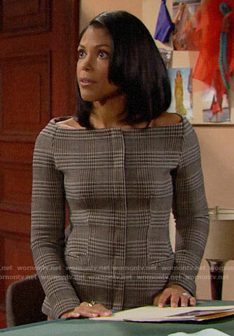 Maya's plaid off-shoulder jacket on The Bold and the Beautiful