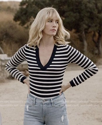 Melissa's striped v-neck bodysuit on Last Man on Earth