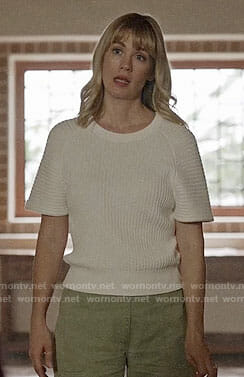 Melissa's white ribbed short sleeve sweater on Last Man on Earth