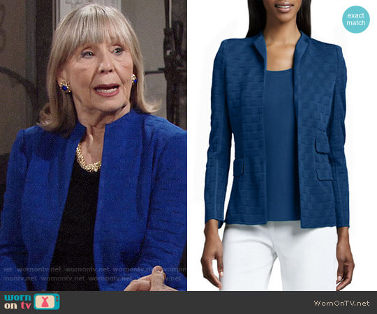 Misook Lilly Textured Jacket worn by Dina Mergeron (Marla Adams) on The Young & the Restless
