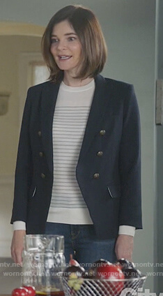 Heather's navy double breasted jacket on Life in Pieces