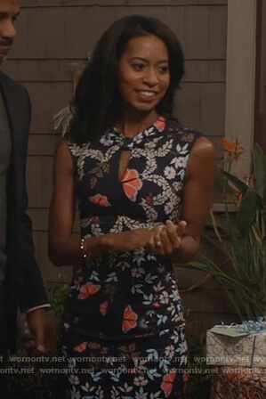 Teresa's navy floral print dress on The Fosters