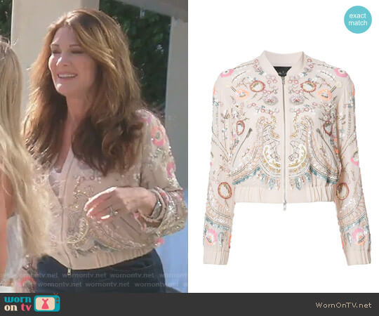 Floral Embellished Bomber Jacket by Needle & Thread worn by Lisa Vanderpump on The Real Housewives of Beverly Hills