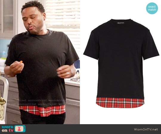 Neil Barrett Tartan-panel cotton T-shirt worn by Andre Johnson (Anthony Anderson) on Blackish