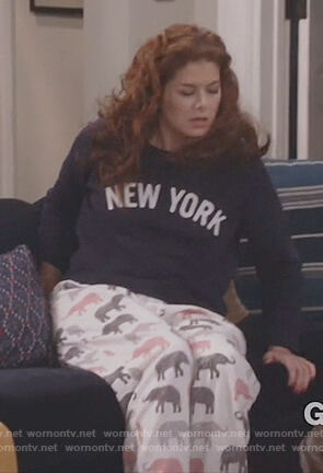 Grace's elephant PJ pants and New York sweatshirt on Will and Grace