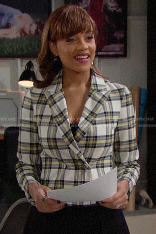 Nicole's plaid blazer on The Bold and the Beautiful