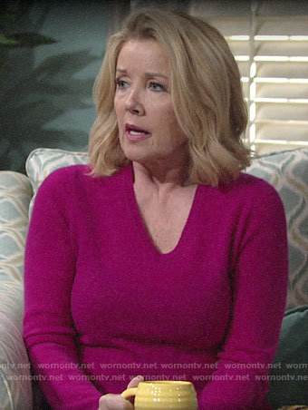 Nikki's pink v-neck sweater on The Young and the Restless