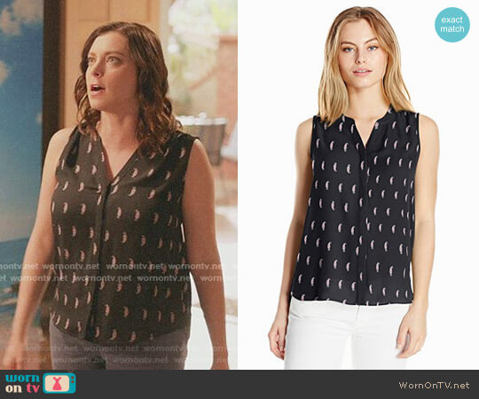 Sleeveless Pintuck Blouse by NYDJ worn by Rebecca Bunch (Rachel Bloom) on Crazy Ex-Girlfriend