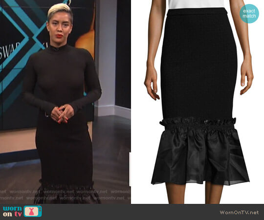 Floral Jersey Ruffle Skirt by Opening Ceremony worn by Sibley Scoles on E! News