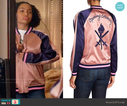 Opening Ceremony Reversible Silk Graphic Bomber Jacket worn by Yara Shahidi on Grown-ish