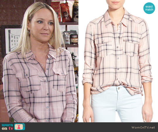 Paige Mya Shirt in Rosette Steel Grey worn by Sharon Case on The Young & the Restless