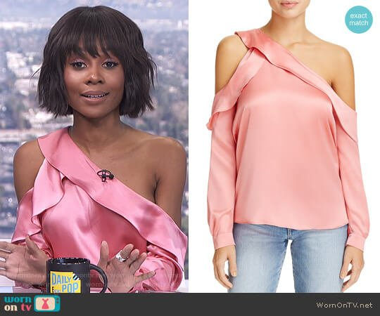 Piper Single Cold-Shoulder Blouse by Parker worn by Zuri Hall (Zuri Hall) on E! News