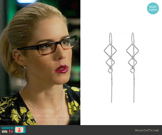 Peggy Li Diamondback Threader Earrings worn by Emily Bett Rickards on Arrow