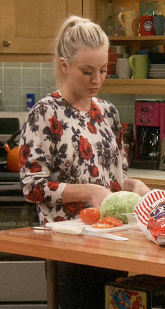 Penny's rose print sweater on The Big Bang Theory