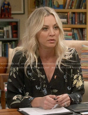 Penny's black floral v-neck blouse on The Big Bang Theory