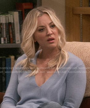 Penny's blue v-neck sweater on The Big Bang Theory