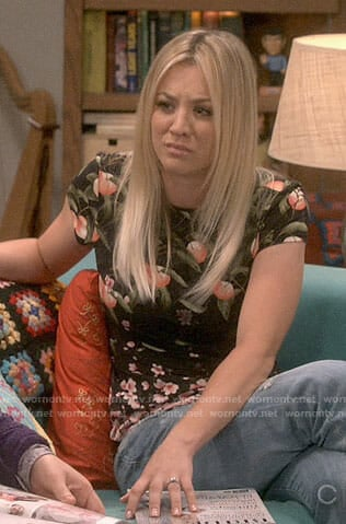 Penny's black peach print top on The Big Bang Theory