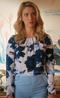 Petra's blue and white floral top on Jane the Virgin