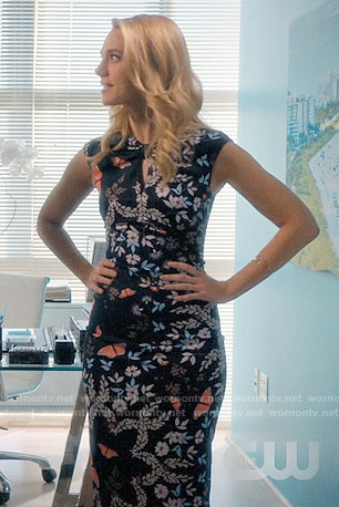 Petra's navy butterfly print dress on Jane the Virgin