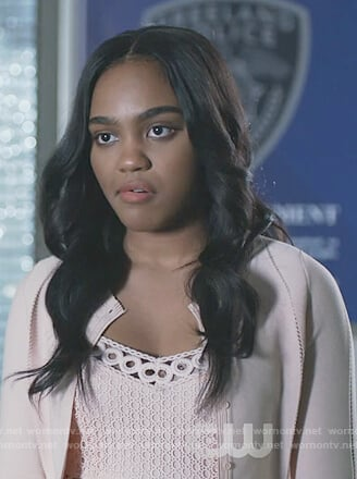 Jennifer's pink eyelet dress on Black Lightning