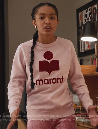Zoey's pink marant logo print sweater on Grown-ish
