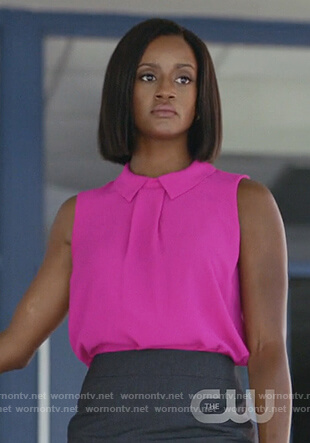 Kara's pink sleeveless top on Black Lightning