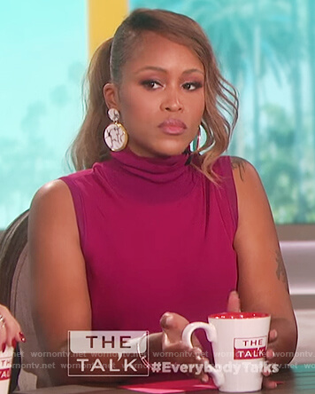 Eve's pink sleeveless turtleneck top on The Talk