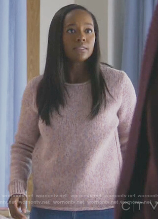 Michaela's pink speck sweater on How to Get Away with Murder