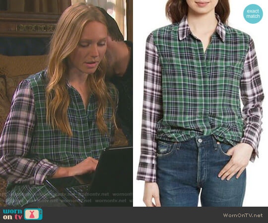 Holly Colorblock Plaid Silk Shirt by Equipment worn by Abigail Deveraux (Kate Mansi) on Days of our Lives