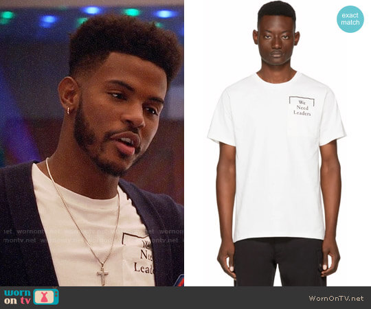 Public School  'We Need Leaders' Cooked T-Shirt worn by Aaron Jackson (Trevor Jackson) on Grown-ish