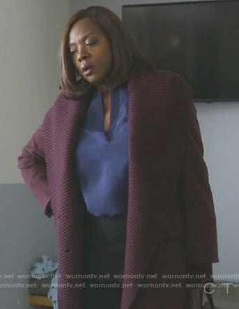 Annalise's purple shawl collar coat on How to Get Away with Murder