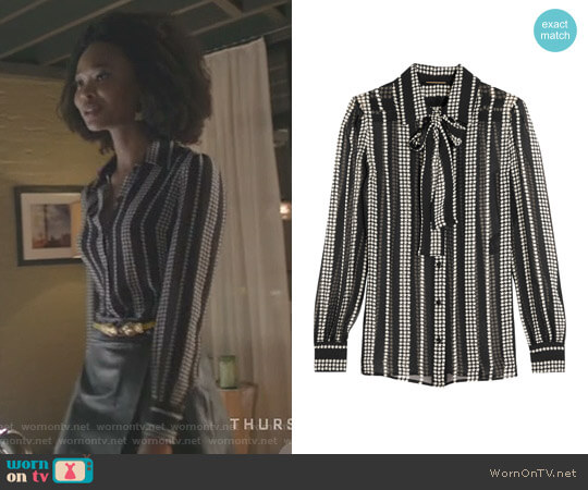 Pussy-bow Printed Silk-georgette Shirt by Saint Laurent worn by Monica Colby (Wakeema Hollis) on Dynasty