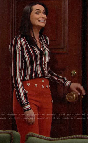 Quinn's striped blouse and orange buttoned front trousers on The Bold and the Beautiful