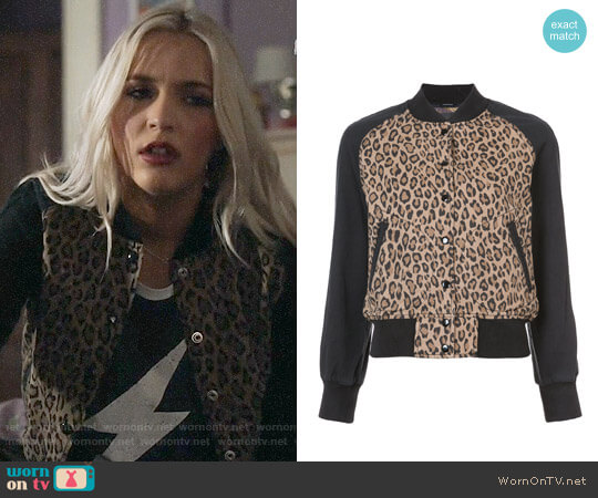 R13 Leopard Print Bomber Jacket worn by Lennon Stella on Nashville