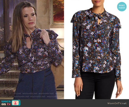 RACHEL Rachel Roy Tied Up Patterned Blouse worn by Chelsea Lawson (Melissa Claire Egan) on The Young & the Restless