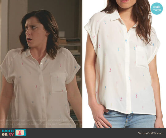 Chase' Shirt by Rails worn by Rebecca Bunch (Rachel Bloom) on Crazy Ex-Girlfriend