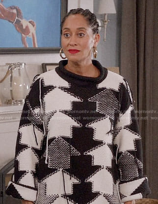 Rainbow's black and white arrow sweater on Black-ish