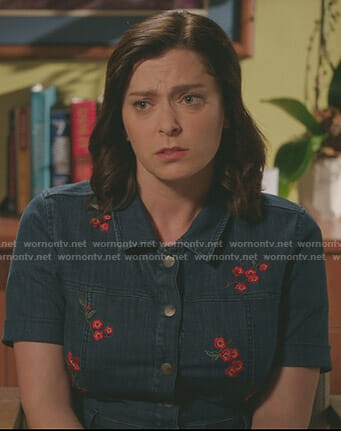 Rebecca's floral embroidered denim dress on Crazy Ex-Girlfriend