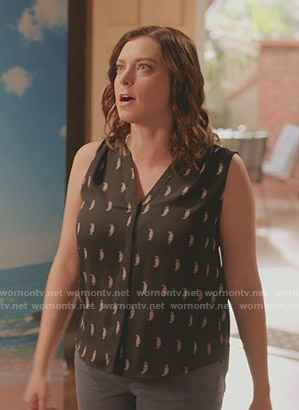 Rebecca's black paisley print sleeveless blouse on Crazy Ex-Girlfriend