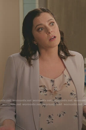 Rebecca's pink floral ruffled top on Crazy Ex-Girlfriend
