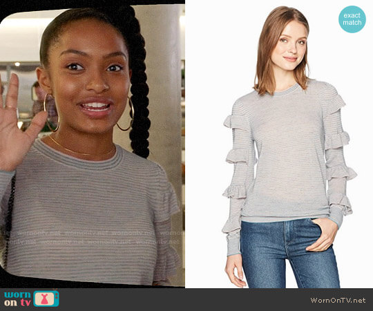 Rebecca Taylor Delicate Ruffle Pullover worn by Yara Shahidi on Grown-ish