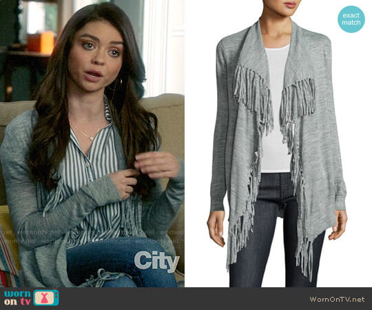 Rebecca Taylor Fringe Trim Open Cardigan worn by Haley Dunphy (Sarah Hyland) on Modern Family