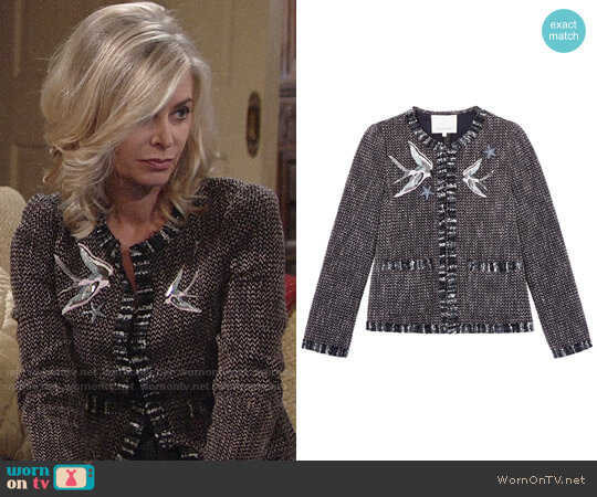 Rebecca Taylor Multi Tweed Bird Embellished Jacket worn by Eileen Davidson on The Young & the Restless
