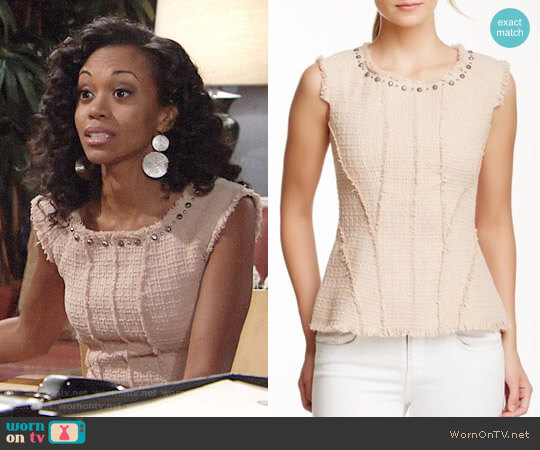 Rebecca Taylor Studded Tweed Top worn by Hilary Curtis (Mishael Morgan) on The Young & the Restless