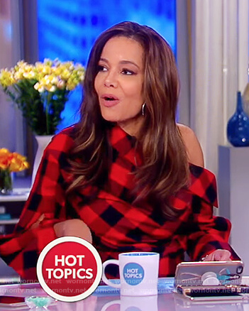 Sunny's red and black check one off shoulder top on The View