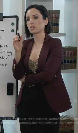 Jen's red gold button blazer on Life in Pieces