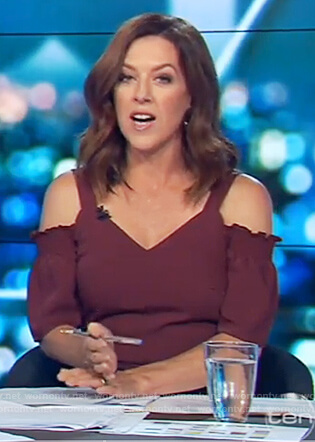 Gorgi's red cold shoulder jumpsuit on The Project