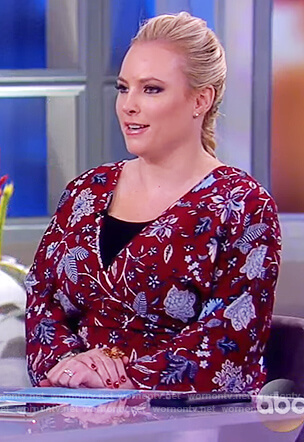Meghan's maroon floral print wrap dress on The View